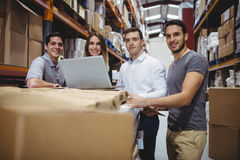 Portrait of smiling warehouse managers Royalty Free Stock Photography