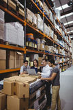 Portrait of smiling warehouse managers Royalty Free Stock Image