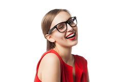 Portrait of smiling winking woman in glasses with red lips Royalty Free Stock Images