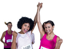 Portrait of smiling winner athletes with arms raised Stock Images