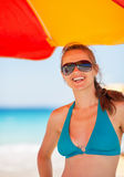 Portrait of smiling woman on beach Stock Photography