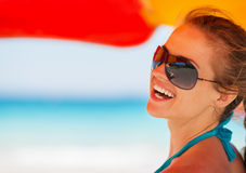 Portrait of smiling woman on beach Royalty Free Stock Photo