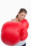 Portrait of a smiling woman boxing Royalty Free Stock Image