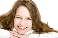 Portrait of smiling woman with chin on hands Stock Image