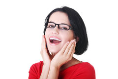 Portrait of a smiling woman in eyeglasses. Stock Photography
