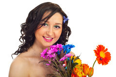 Portrait of smiling woman with flowers Royalty Free Stock Images