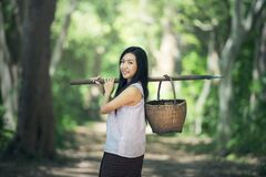 Portrait of Smiling Woman in Forest Stock Photography