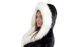 Portrait of the smiling woman in fur coat Stock Photo