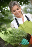 Portrait of smiling woman gardening Royalty Free Stock Images