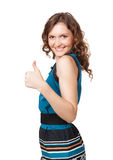 Portrait of a smiling woman while giving two thumbs up Royalty Free Stock Image
