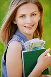 Portrait of smiling woman holding Stock Image