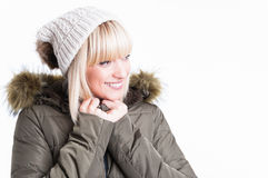 Portrait of smiling woman with jacket and hat Royalty Free Stock Photos