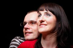 Portrait of smiling woman and man Stock Photo