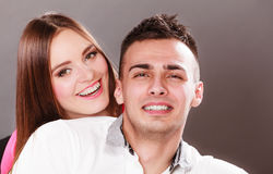 Portrait of smiling woman and man. Happy couple. Royalty Free Stock Photos