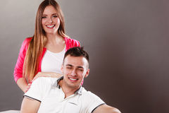 Portrait of smiling woman and man. Happy couple. Stock Images