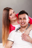 Portrait of smiling woman and man. Happy couple. Stock Photos