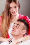 Portrait of smiling woman and man. Happy couple. Royalty Free Stock Image
