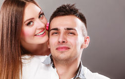 Portrait of smiling woman and man. Happy couple. Stock Image