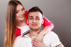 Portrait of smiling woman and man. Happy couple. Royalty Free Stock Photography
