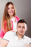 Portrait of smiling woman and man. Happy couple. Royalty Free Stock Photo