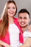 Portrait of smiling woman and man. Happy couple. Stock Photography