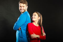 Portrait of smiling woman and man. Happy couple. Stock Photo
