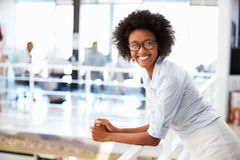 Portrait of smiling woman in office Stock Images