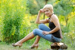 Portrait of smiling woman outdoors Royalty Free Stock Photography