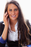 Portrait of a smiling woman on the phone Stock Photos