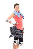 Portrait of smiling woman with roller skates isolated on white b Stock Photo