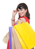 Portrait of  smiling woman with shopping bags Stock Photos