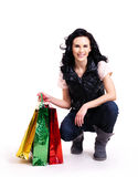 Portrait of smiling woman with shopping bags. Royalty Free Stock Photo