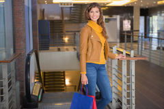 Portrait of smiling woman with shopping bags looking at camera Stock Photography