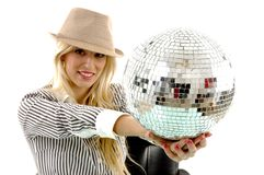 Portrait of smiling woman showing disco ball Stock Photography