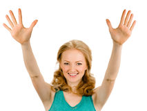 Portrait smiling woman showing ten fingers Stock Photography