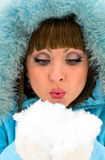 Portrait of smiling woman with snow royalty free stock photography