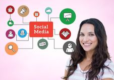Portrait of smiling woman with social media icon on background. Digitally composite image of smiling woman with social media icon on background Stock Images