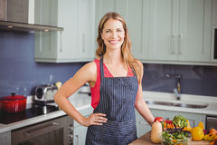 Portrait of smiling woman standing in kitchen. Portrait of beautiful smiling woman wearing apron in kitchen at home Stock Photography