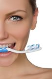 Portrait smiling woman with toothbrush in teeth Stock Photos