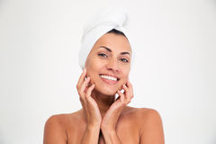 Portrait of a smiling woman with towel on head Royalty Free Stock Photography