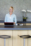 Portrait of smiling woman using laptop in kitchen Stock Photos