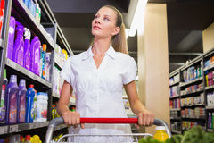 Portrait of smiling woman walking in aisle with his trollet Stock Image