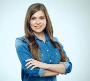 Portrait of smiling woman wearing blue denim shirt. Royalty Free Stock Images