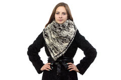 Portrait of the smiling woman in winter coat Royalty Free Stock Photo