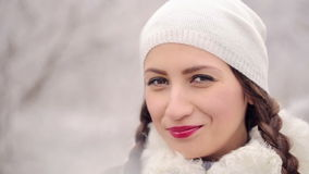 Portrait of Smiling Woman in Winter stock footage