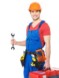 Portrait of smiling worker with tools Stock Images