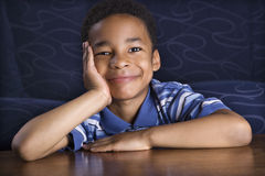 Portrait of Smiling Young Boy stock photo