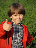 Portrait of a smiling young boy. Portrait of a smiling young boy gesturing thumbs on the nature. Happiness, fashionable concept. Lifestyle Royalty Free Stock Photography