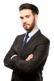Portrait of a smiling young business man, isolated on white Royalty Free Stock Photos