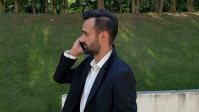Portrait of a smiling young businessman with a beard talking on a cell phone while walking in the park. telephone business stock video footage